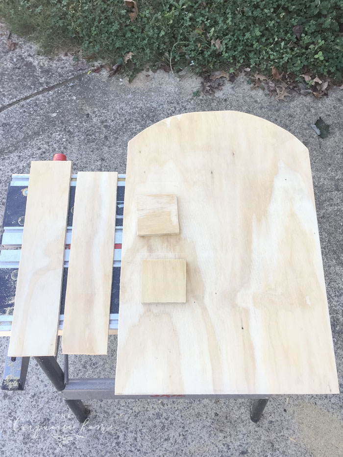 Cut pieces for the DIY Lighted Pumpkin Candy Holder