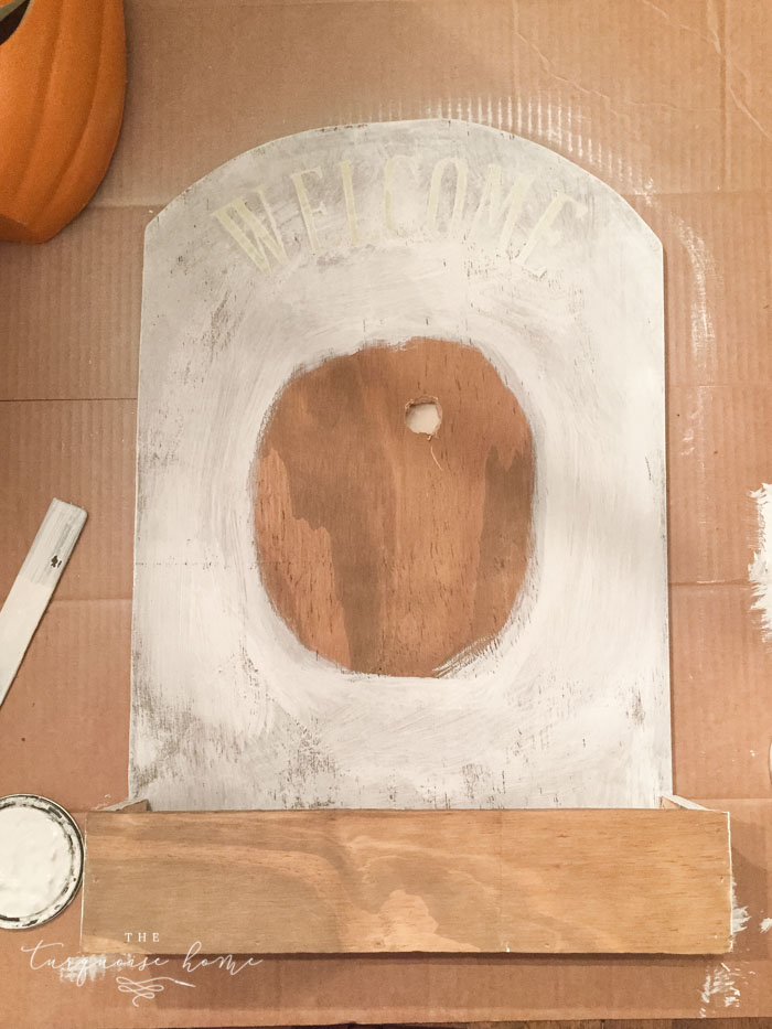 Paint the candy holder with chalk paint except for where the pumpkin will go and the very front of the box!