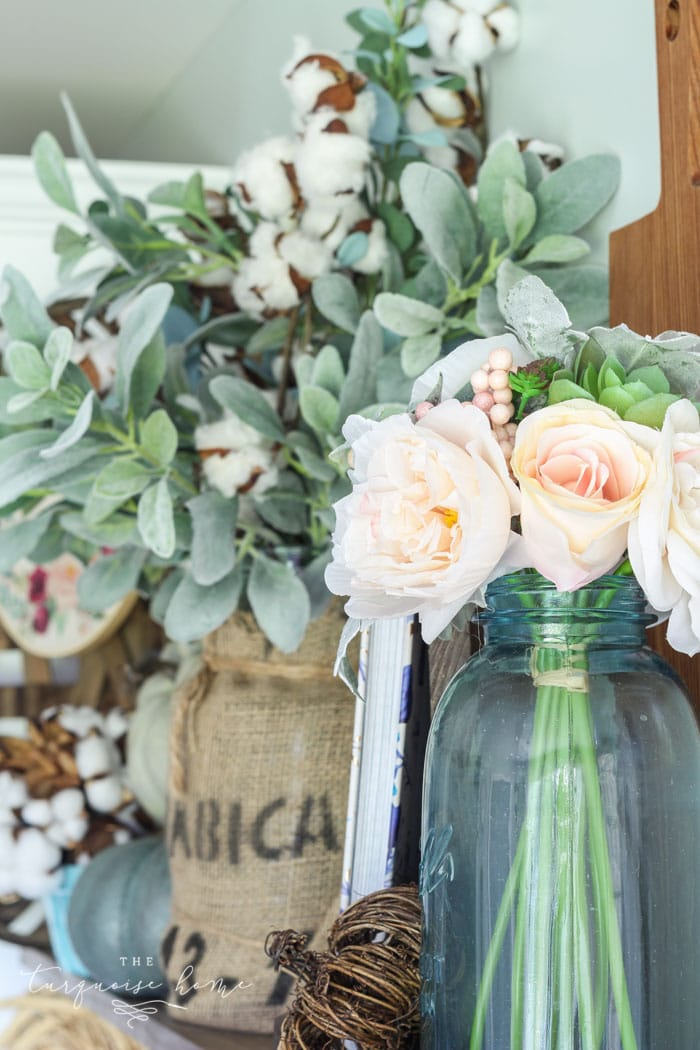 Blush, blue and green autumn decor .. so perfect for those who don't like orange!