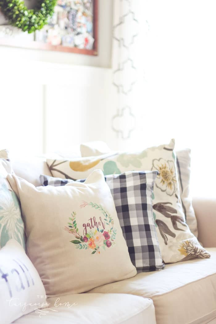 What?!? The cutest pillow is made from a free printable and some iron on transfer paper.