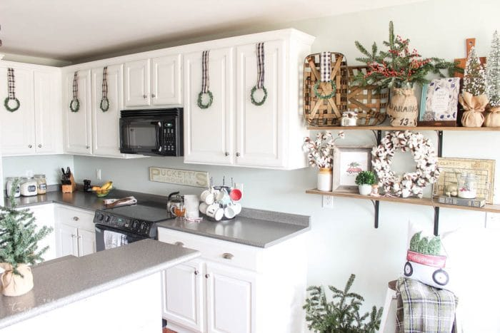 14 Fabulous Farmhouse Christmas Kitchens | The Turquoise Home on remodeling ideas for kitchen, christmas decorations above kitchen cabinets, christmas decor for kitchen, design ideas for kitchen, organizing ideas for kitchen, christmas centerpieces for kitchen, christmas kitchen decor idea, color ideas for kitchen, home ideas for kitchen, christmas crafts for kitchen, christmas lights for kitchen, diy for kitchen, storage ideas for kitchen, paint ideas for kitchen, italy ideas for kitchen, lighting ideas for kitchen, sewing ideas for kitchen, painting ideas for kitchen, vintage ideas for kitchen, christmas rugs for kitchen,