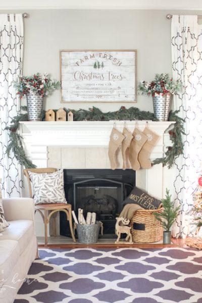 A Farm Fresh Christmas Trees Mantel. Rustic, farmhouse Christmas decor.