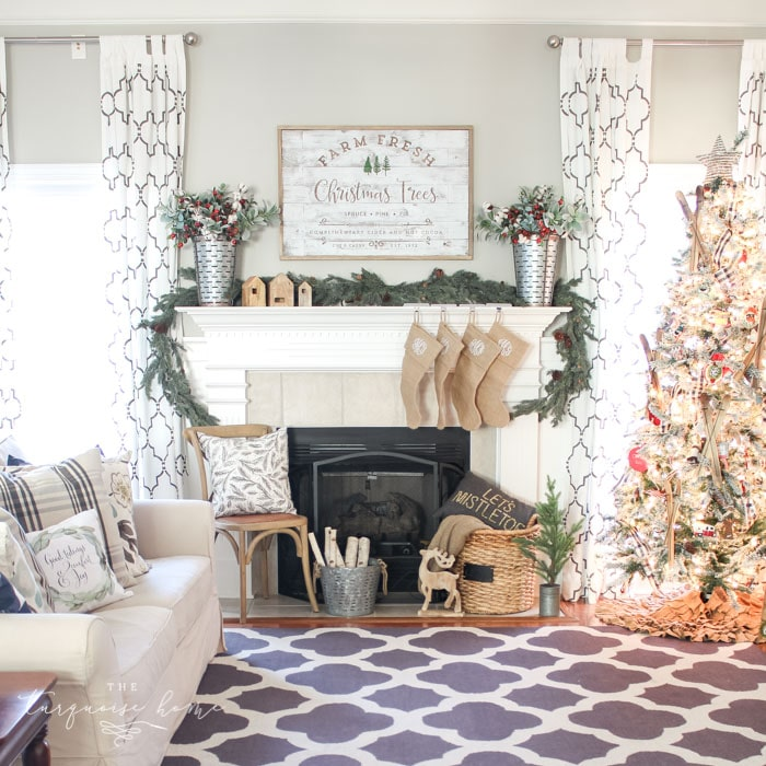 A Farm Fresh Christmas Trees Mantel. Rustic, farmhouse Christmas decor.