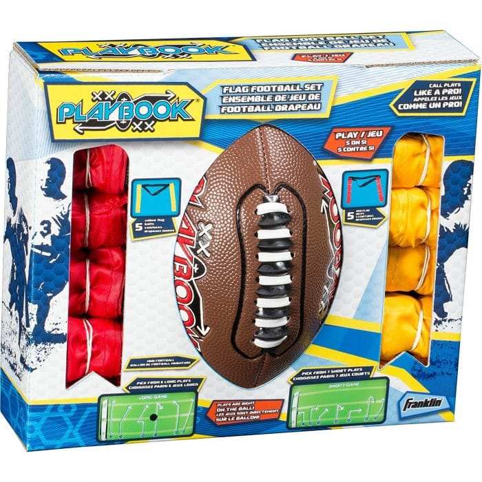 This flag football set has the plays written write on the back of the football. So cool!! Perfect to keep boys outside and active!