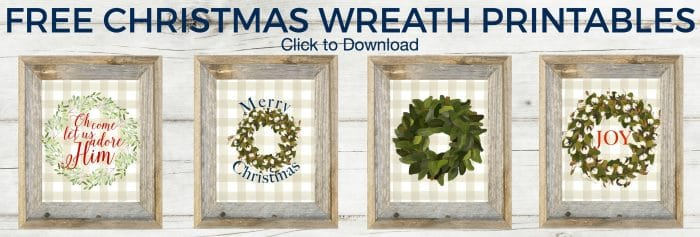 Add some Christmas cheer to your home for free! Free Christmas Wreath Printables | cotton stem wreath | magnolia wreath | buffalo check