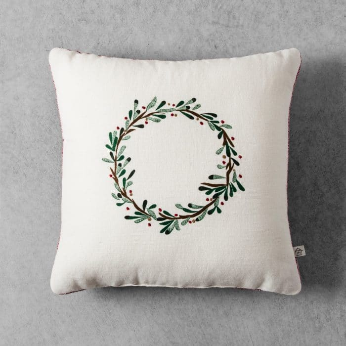 Hearth & Hand with Magnolia Embroidered Wreath Throw Pillow