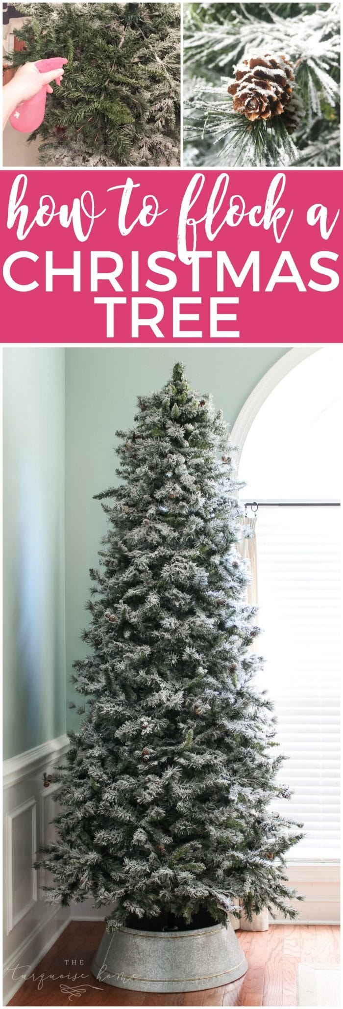How to flock a christmas tree the turquoise home how to flock a christmas tree the easy way make your wintery tree dreams come solutioingenieria Image collections