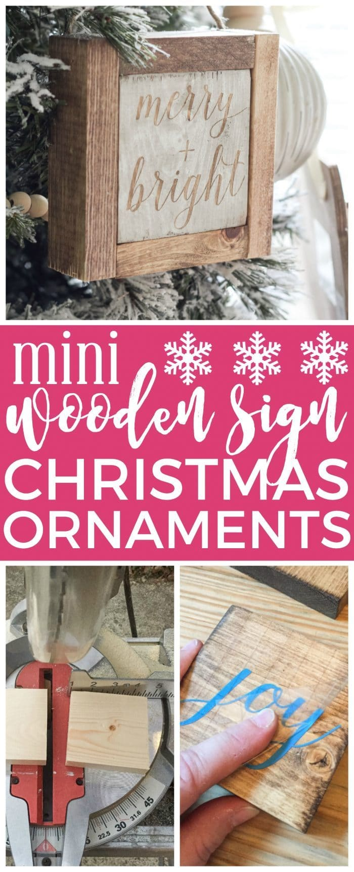 Mini Wooden Sign Christmas Ornaments | Create a simple wooden sign with a cute saying and create a rustic, farmhouse Christmas look for cheap!