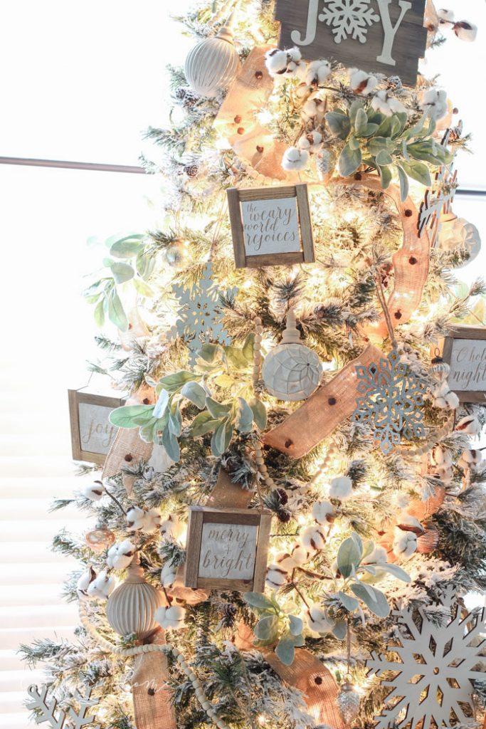 Flocked Christmas Tree   Farmhouse Christmas Tree with lamb's ear and cotton stem tree