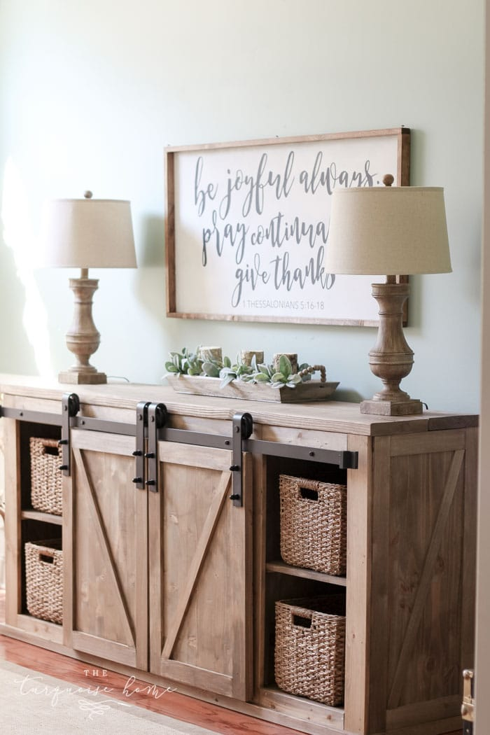 DIY Farmhouse Media Console Table - all the plans to make it yourself!