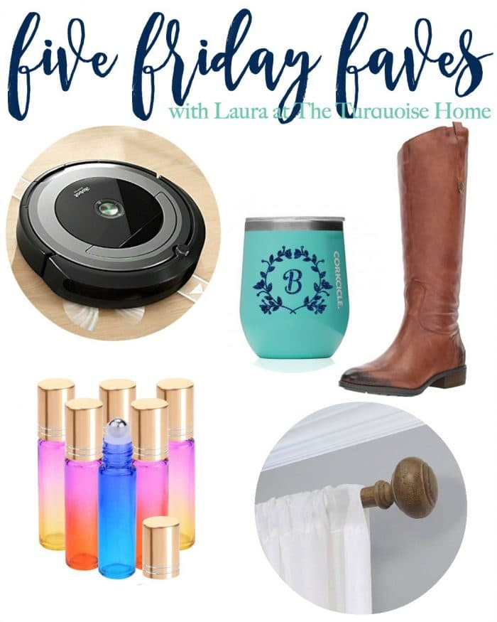 Five Friday Faves: Favorite Christmas Gifts!! | Roomba 690 | Sam Edelman Penny Riding Boots | Corkcicle Wine Tumbler | Rainbow Roller Bottles | Threshold Faux Wood Curtain Rod