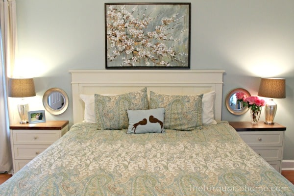 Master Bedroom with a Large Piece of Art over the Bed | Farmhouse Master Bedroom