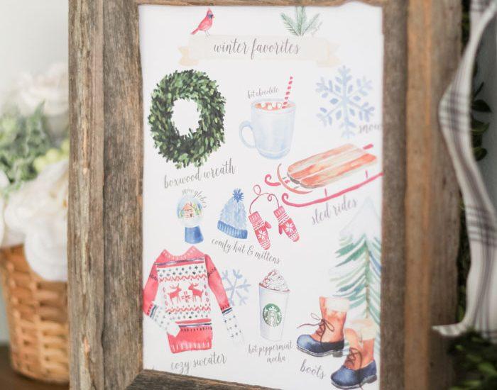Winter Favorites Printable - so fun and cute!
