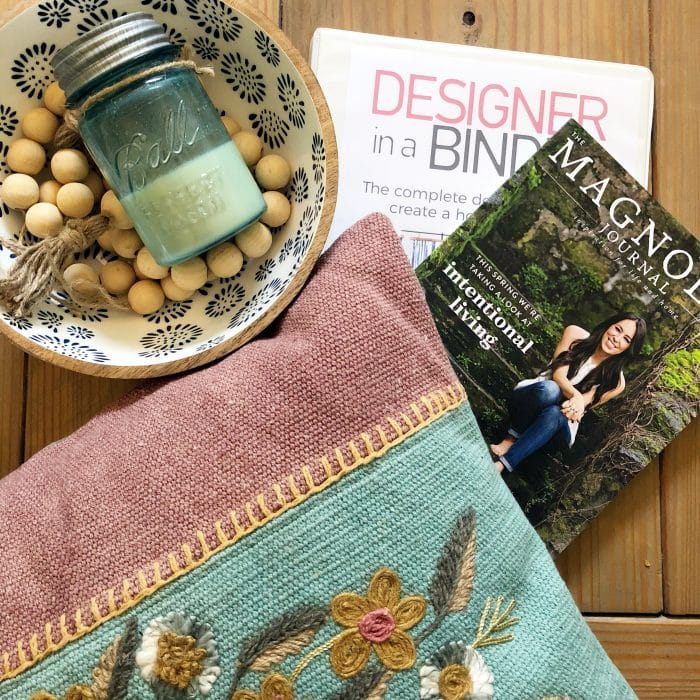 My current decor faves! | Magnolia Journal, Designer in a Binder | Antique Candle Works | World Market Pillow | Blush Pillow | Turquoise Pillow | Mango Wood Serving Bowl