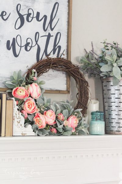 DIY Simple Spring Wreath with Peonies and Lamb's Ear