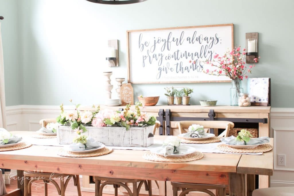 Farmhouse Spring Decorating In The Dining Room