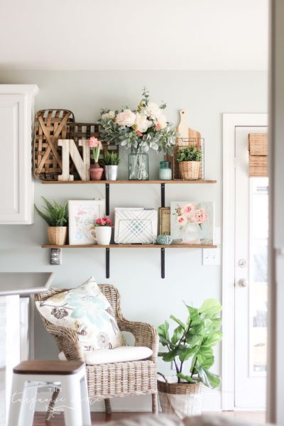 Farmhouse Spring Decorating Ideas - Open Shelves in the Kitchen!