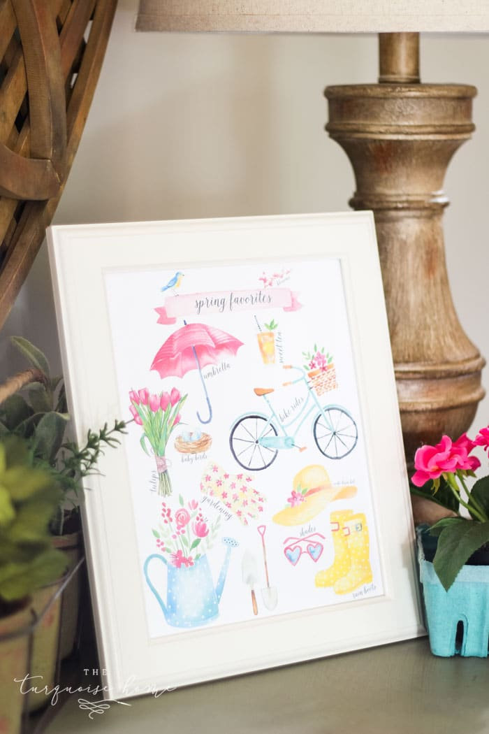 Download this Spring FavoritesFree Printable with birds, blooms, and rainboots. And gather inspiration from a fresh, flowery spring vignette.