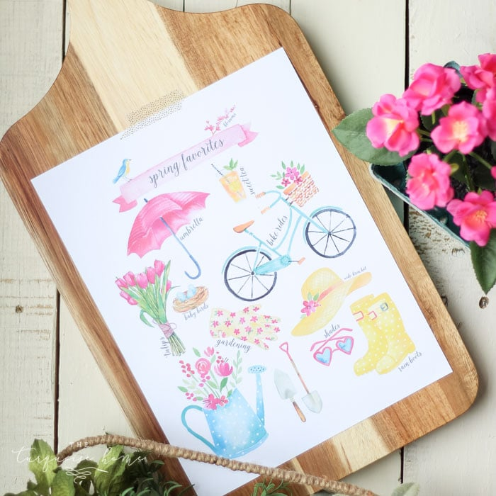 Download this Spring Favorites Free Printable with birds, blooms, and rainboots. And gather inspiration from a fresh, flowery spring vignette.