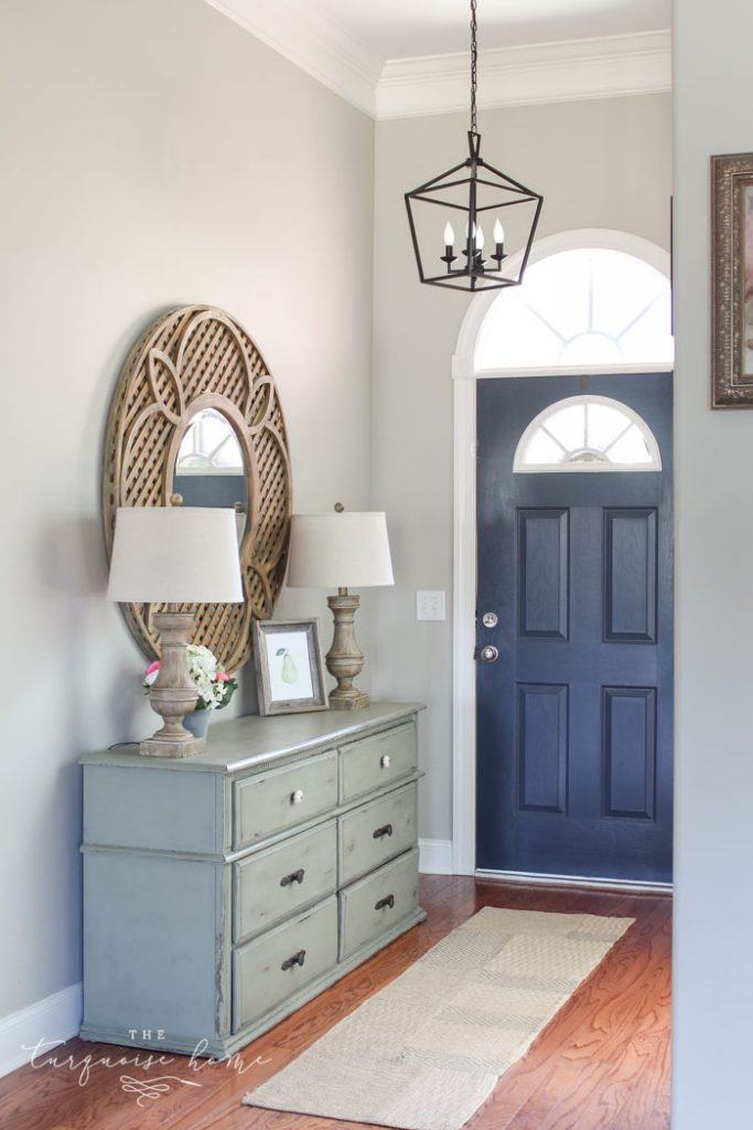 Hale Navy Painted Door | Darlana Pendant Lantern Knock-off for the Foyer! LOVE this light for less than $100!!