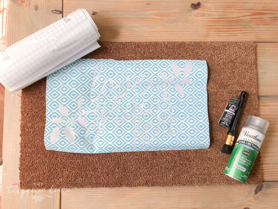 Gather your supplies to create your DIY Doormat!