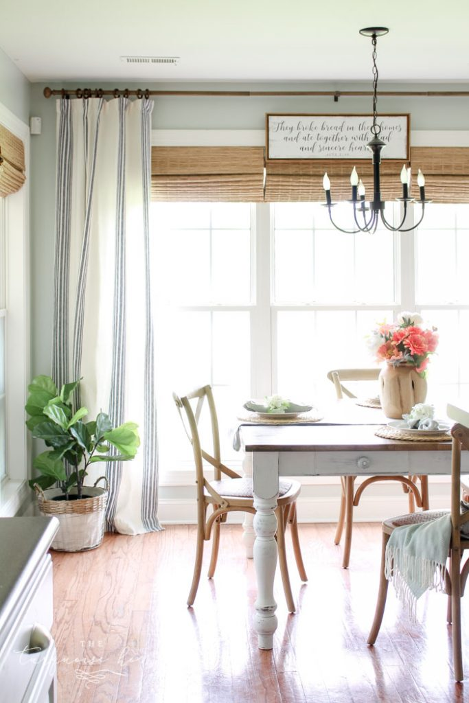 Kitchen Nook Makeover Reveal with Navy Striped Curtains