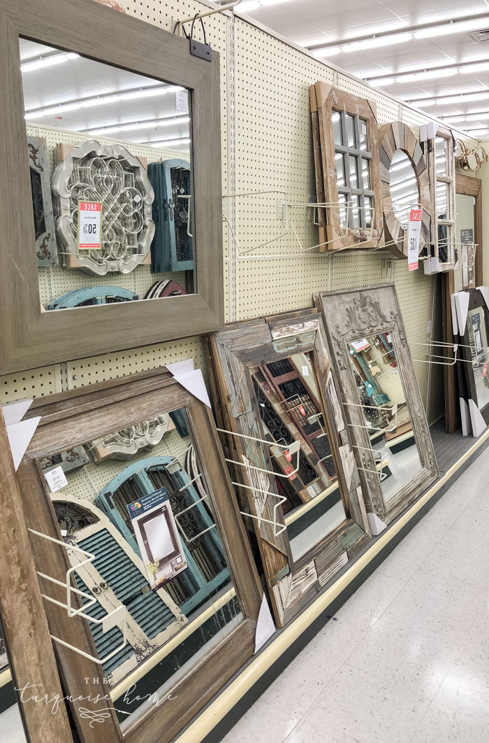 Huge mirrors are so inexpensive at Hobby Lobby. They are perfect for using as a custom bathroom vanity mirror!