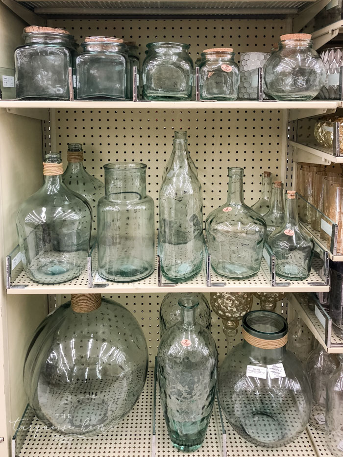 Blue tinted glass containers are perfect for the turquoise lovers at Hobby Lobby!