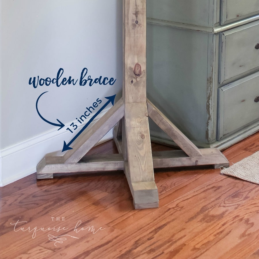 Make your own decorative wooden braces for your DIY Cheap Coat Rack! #buildyourownathome #diyproject #diy #buildlikeagirl