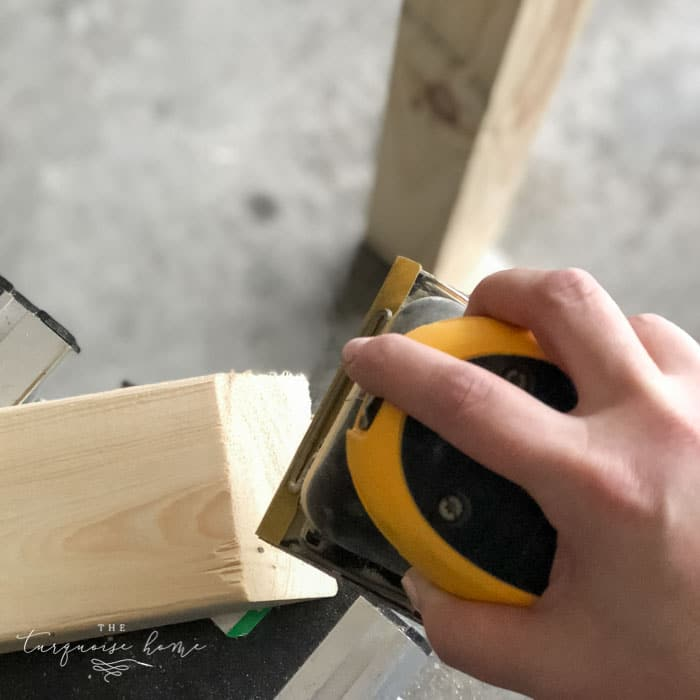 Sand down the whole DIY Coat Rack to make sure there are no splinters or rough spots! Then wipe down with a damp cloth.   Standing Coat Rack   #buildyourownathome #diyproject #diy #buildlikeagirl