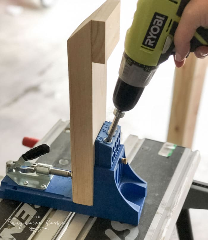 Add Kreg Jig holes to the legs of the DIY Coat Rack.