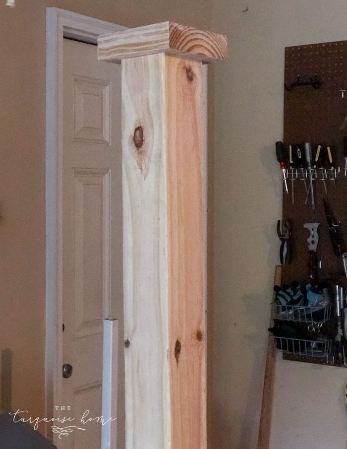 Add a scrap piece of 2 x 6 to the top as a decorative piece. | DIY Coat Rack | #buildyourownathome #diyproject #diy #buildlikeagirl