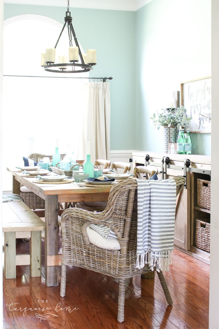 Coastal Decor in the Dining Room & Foyer | The Turquoise Home