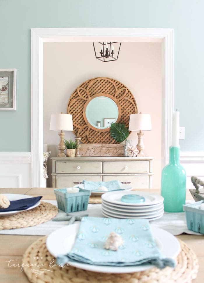 Wythe Blue painted dining room with coastal accents.