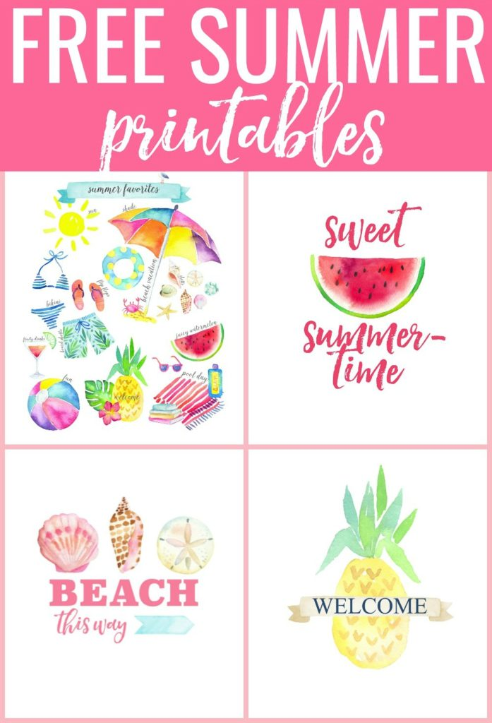 Free Summer Printables - ready to download and decorate your home for summer! | Spring Favorites | Sweet Summertime with Watermelon | Beach This Way with Shells | Pineapple with Welcome