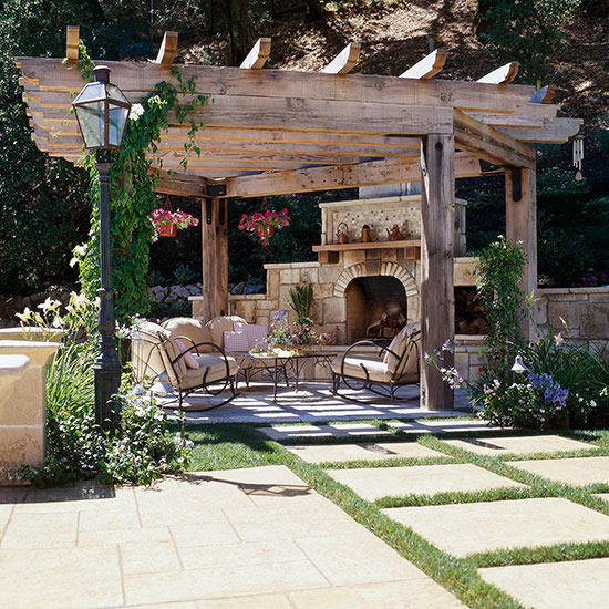 A pergola makes the outdoor living space
