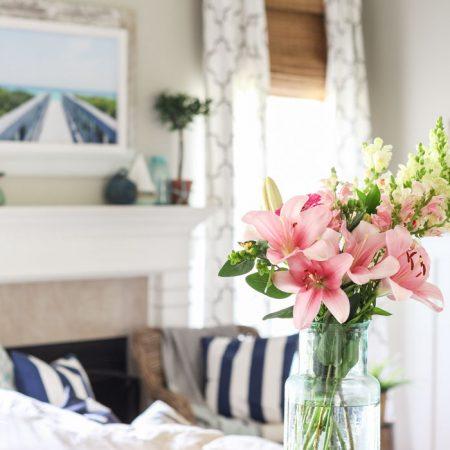 A Simple, Coastal Summer Living Room & Kitchen