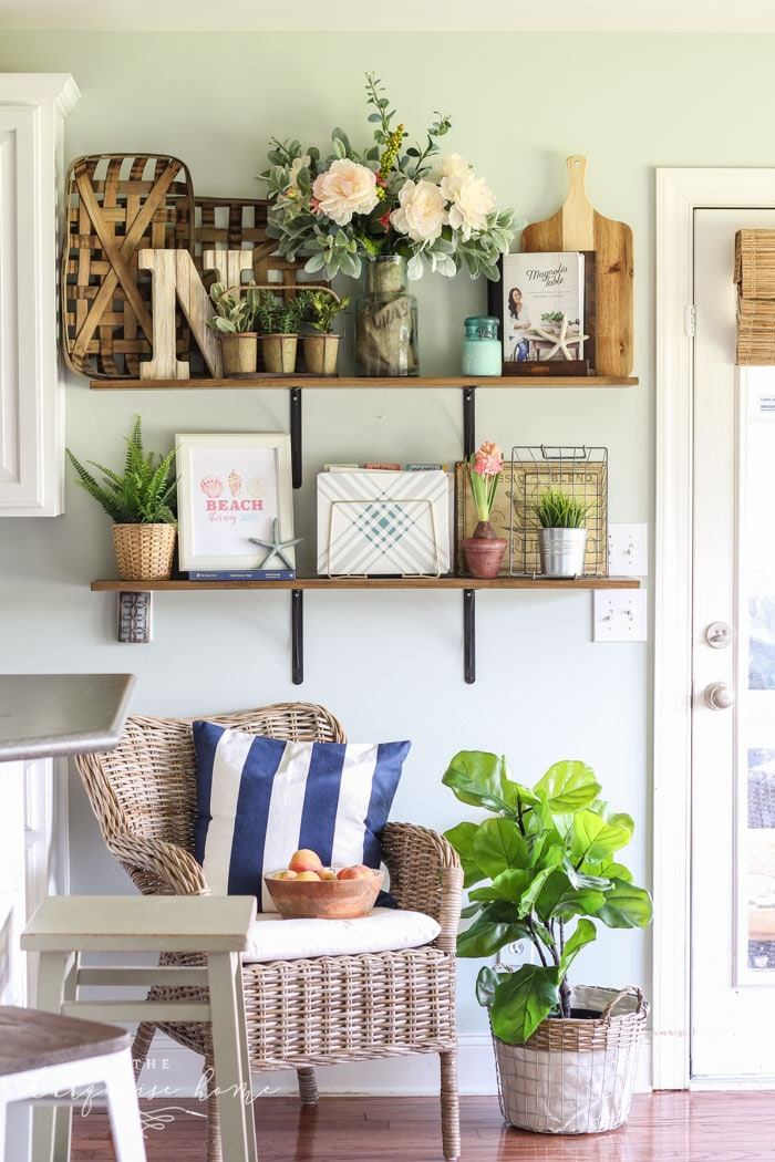 Coastal Summer Open Shelves in the Kitchen - so cute and summery! Love the free summer printables, too!