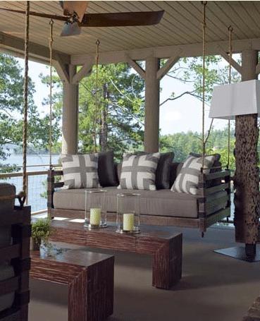 Porch Swing at a Lake House