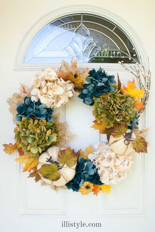 Blue-Green Hydrangea Fall Wreath