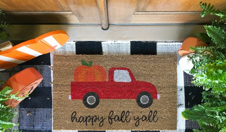 DIY Red Truck with Pumpkin Fall Doormat