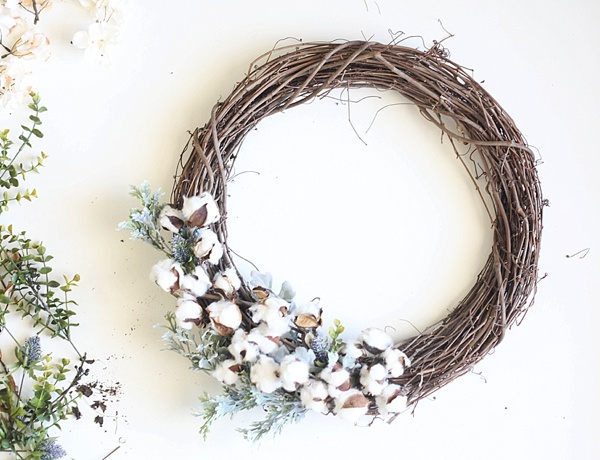 DIY Cotton Fall Wreath