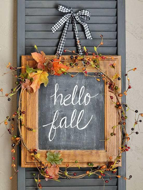 Wood Frame Chalkboard Fall Wreath
