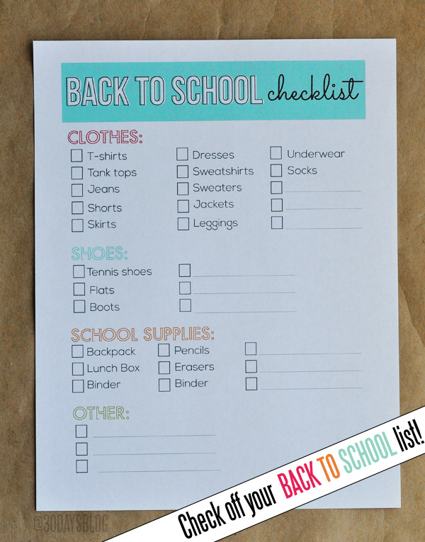 Back-to-School Clothes Shopping Checklist
