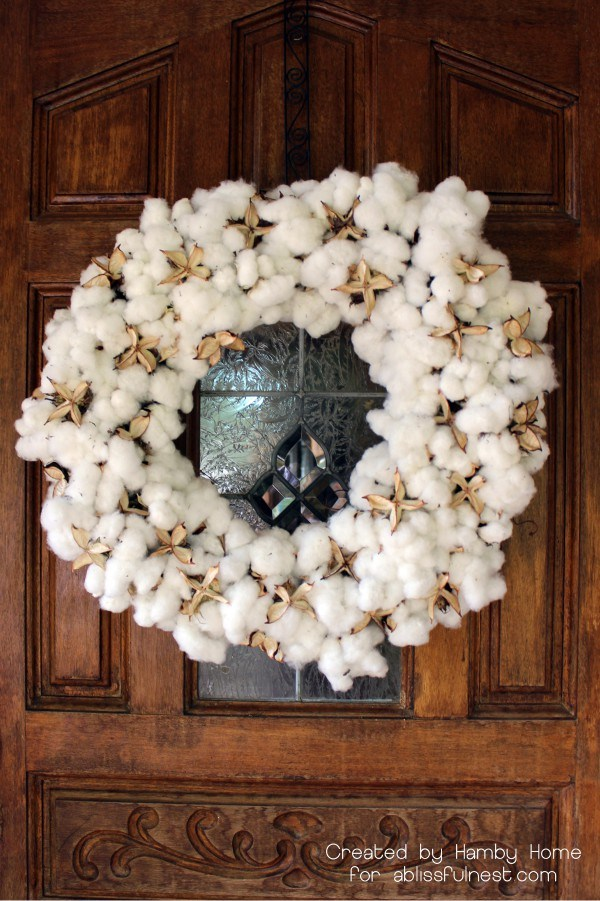 DIY Cotton Boll Fall Wreath