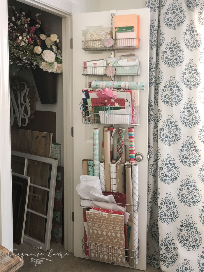 Organize your gift wrapping supplies with this over-the-door system!