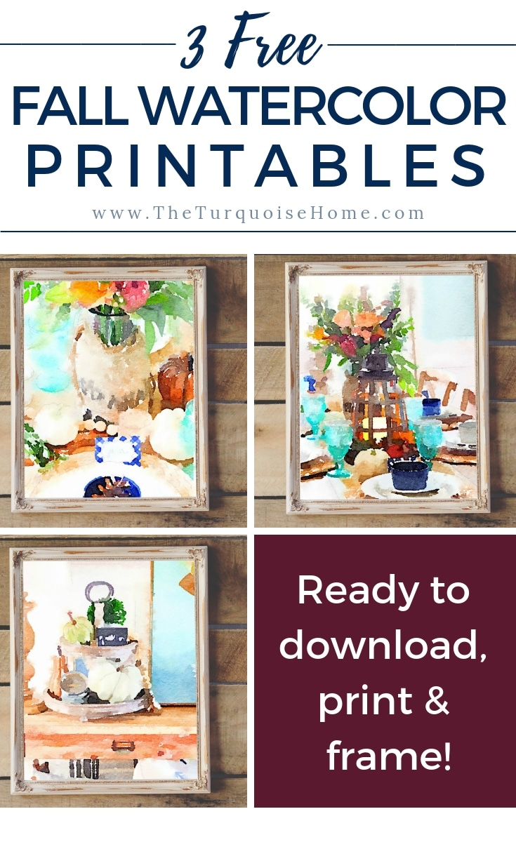 3 Free Fall Watercolor Printables - FREE to download!