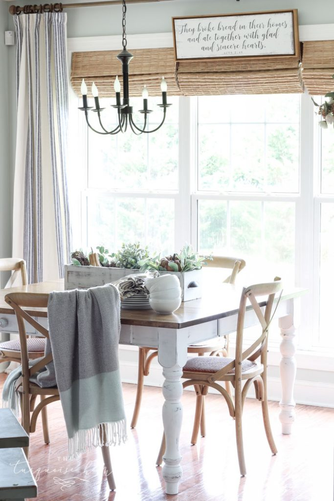 Fall Eat-in Kitchen with Farmhouse Decor | Spend vs. Save - when to spend money on furnishing your home