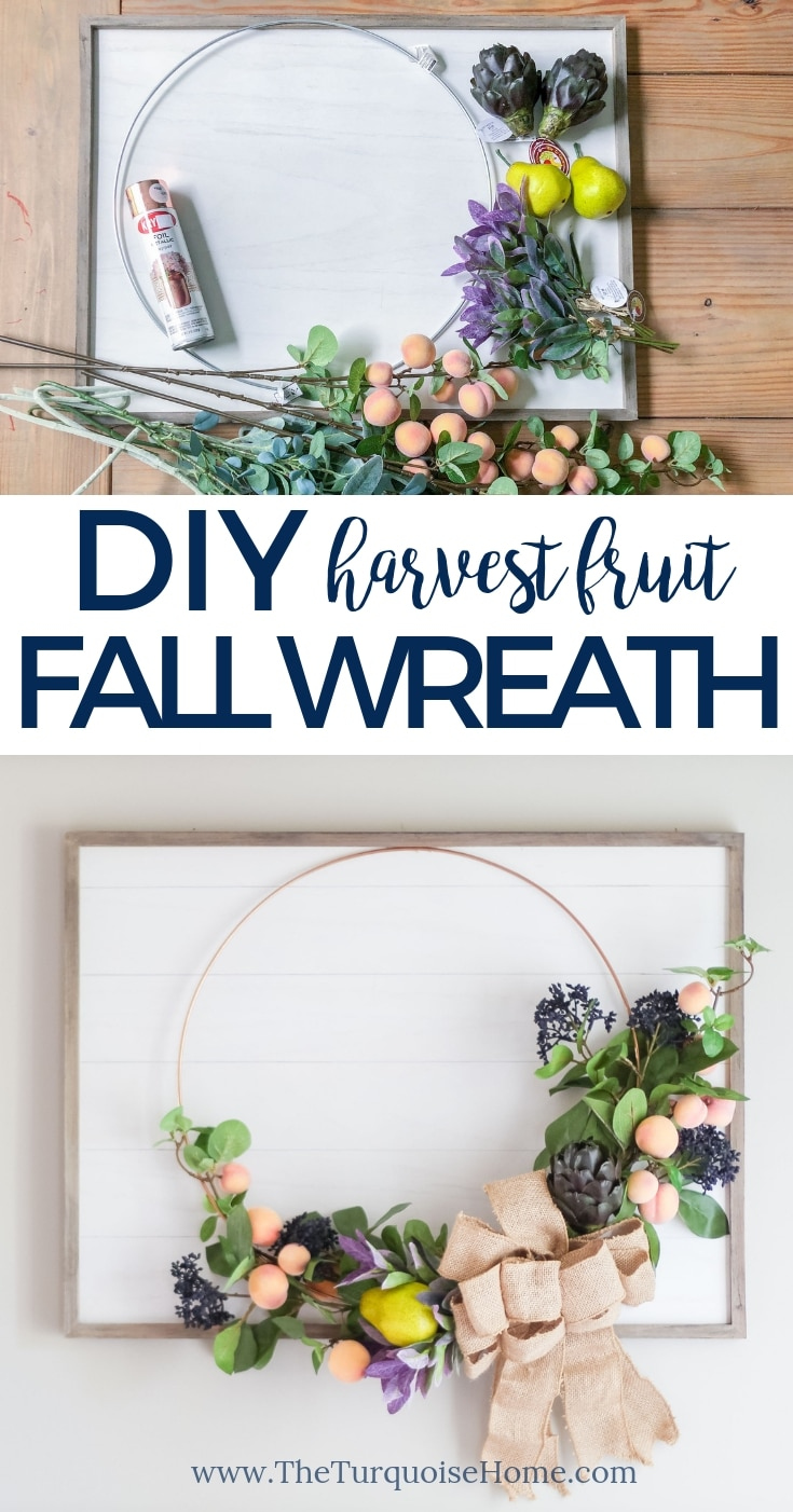 DIY Fruit Fall Wreath with Faux Shiplap