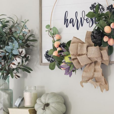 Simple Fall Mantel with Harvest Wreath